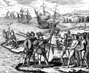Christopher Columbus encounters the indigenous people of the Bahamas in 1492. (After an engraving by Thomas de Bry, 1590)