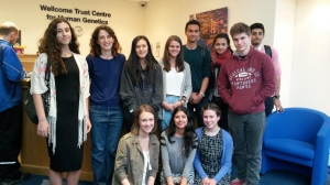 Dianne Newbury (second from left) welcomes the ten students to the Centre
